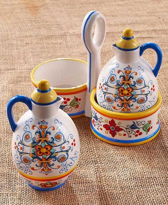 Italian Tuscan Style Dinnerware Cruet Bowls Lazy Susan Stoneware Dining Set