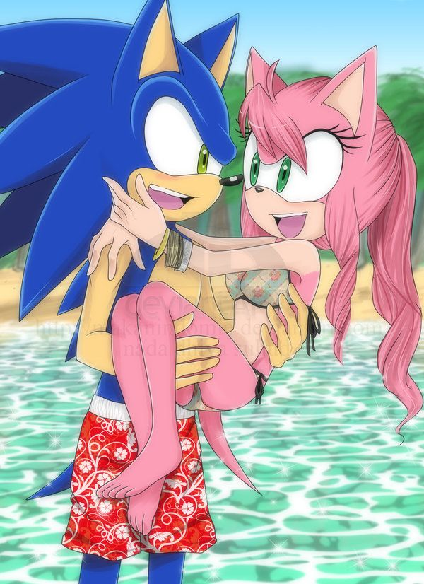 Sonic and amy at the beach! I love amy's swim suit!