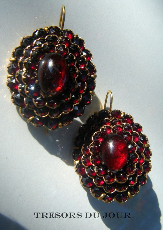 Antique Victorian Bohemian Garnet Earrings In 18 Kt Gold And Plate French C 1865 From Paris Belle Epoch