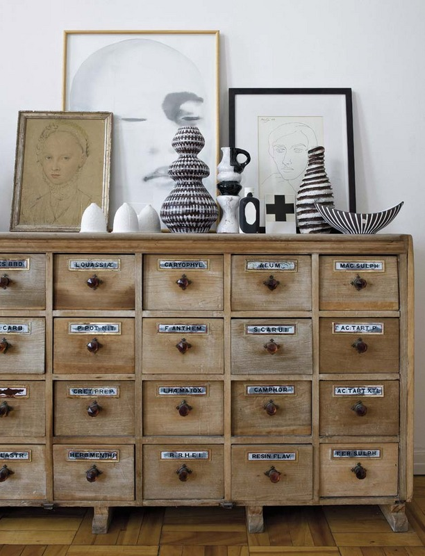 Tour an Elle Decoration Editor's Art-Filled Home Office // card file cabinet, black and white pottery, sketches, drawings, artwork
