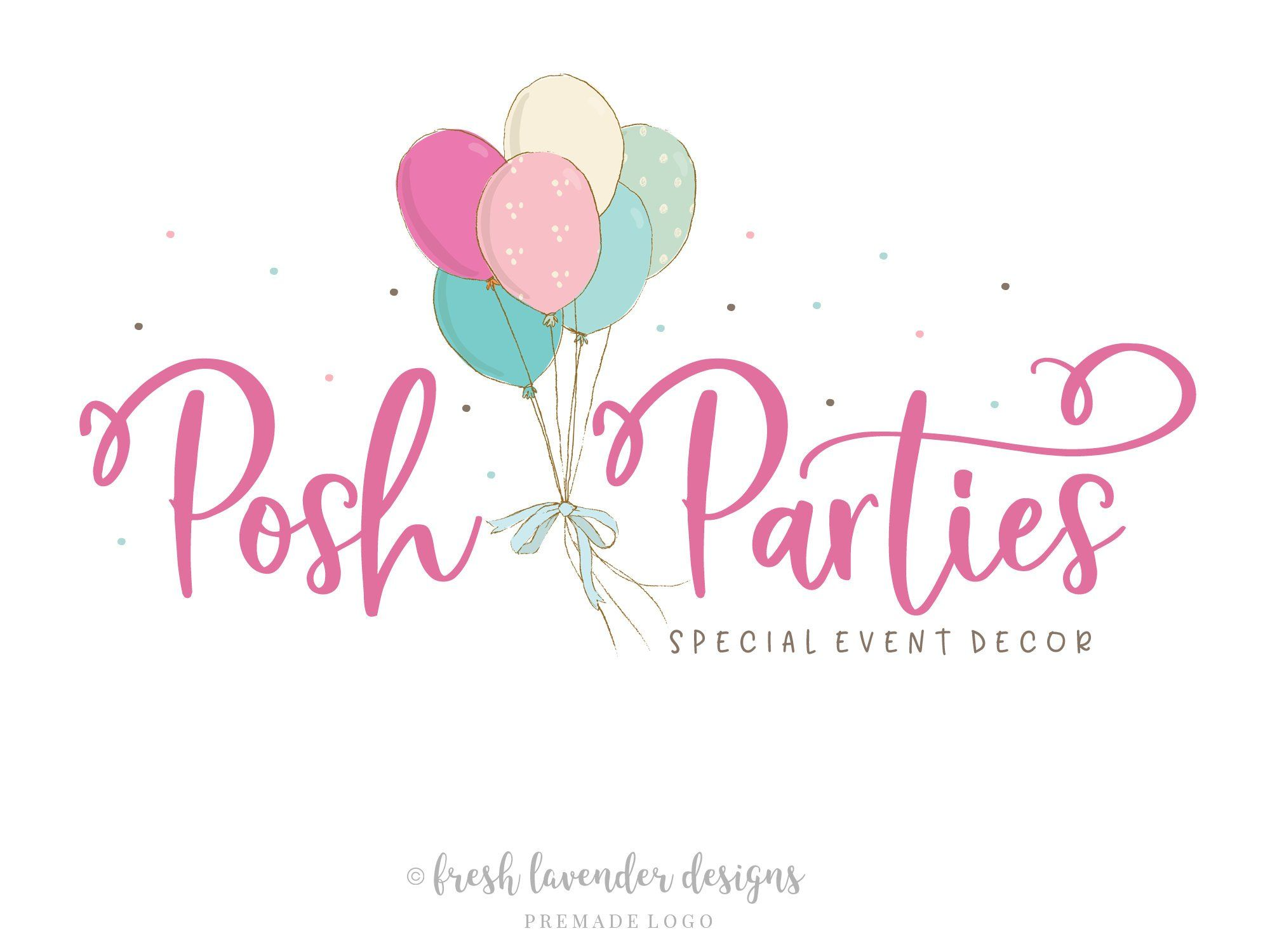 Balloon Logo, Custom Logo, Logo Design, Party Logo, Event