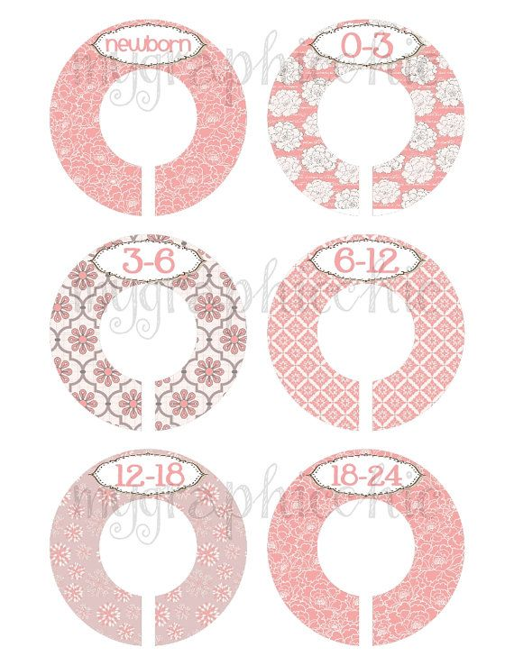 lovely Printable Baby Closet Dividers Part - 6: Custom DIY Closet Dividers Organizer INSTANT DOWNLOAD Pink Grey Chic Floral  Baby Girl Nursery Printable Last Minute Gift