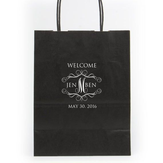 Wedding Welcome Bags Hotel Personalized Foil Imprinting Destination Wedding Guest Bags Paper Tote Bag Foil Stamped Quality Classy Bagsbag
