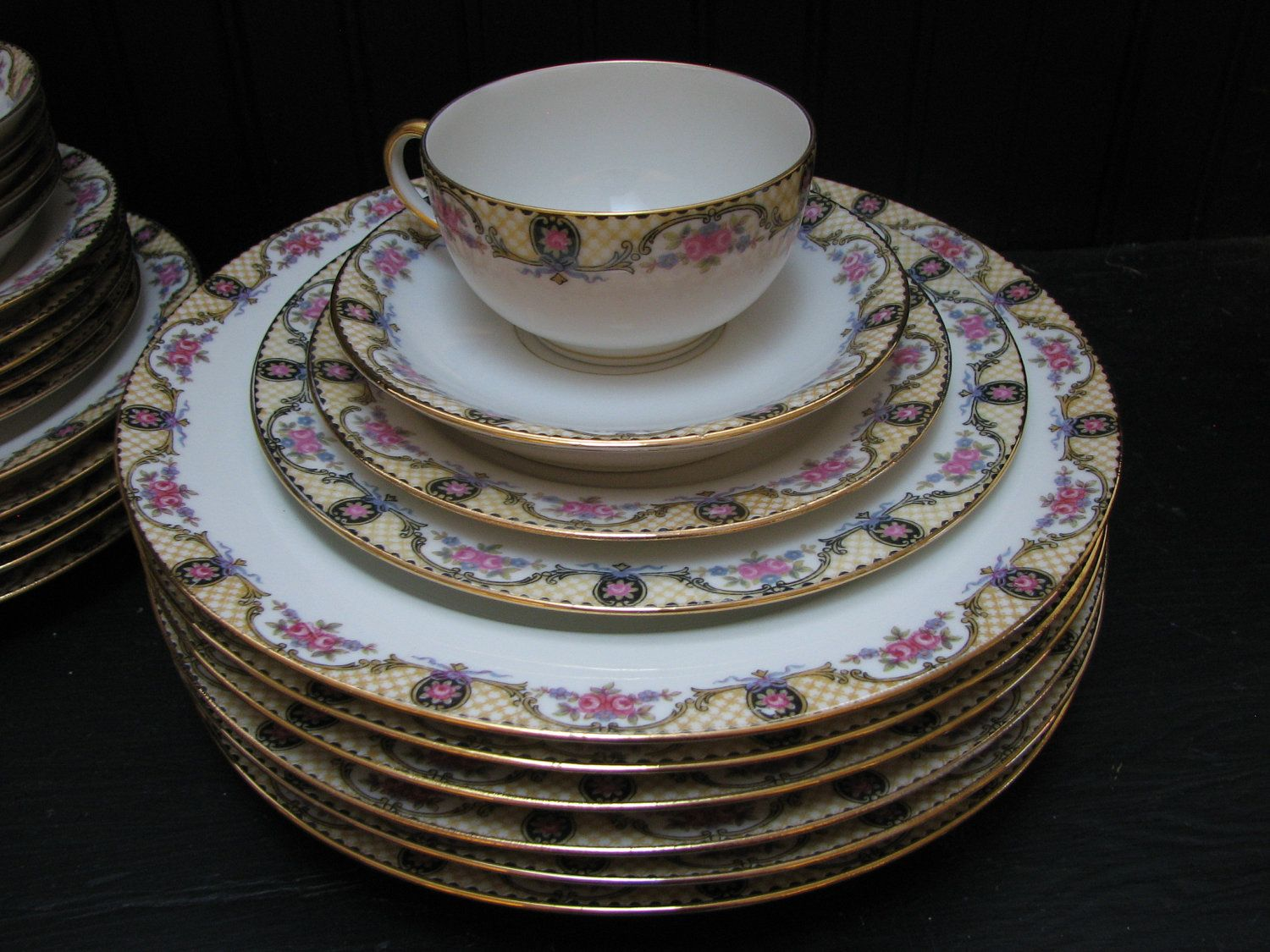 antique french limoges jean pouyat limoges france porcelain china dinnerware limoges china and. Black Bedroom Furniture Sets. Home Design Ideas