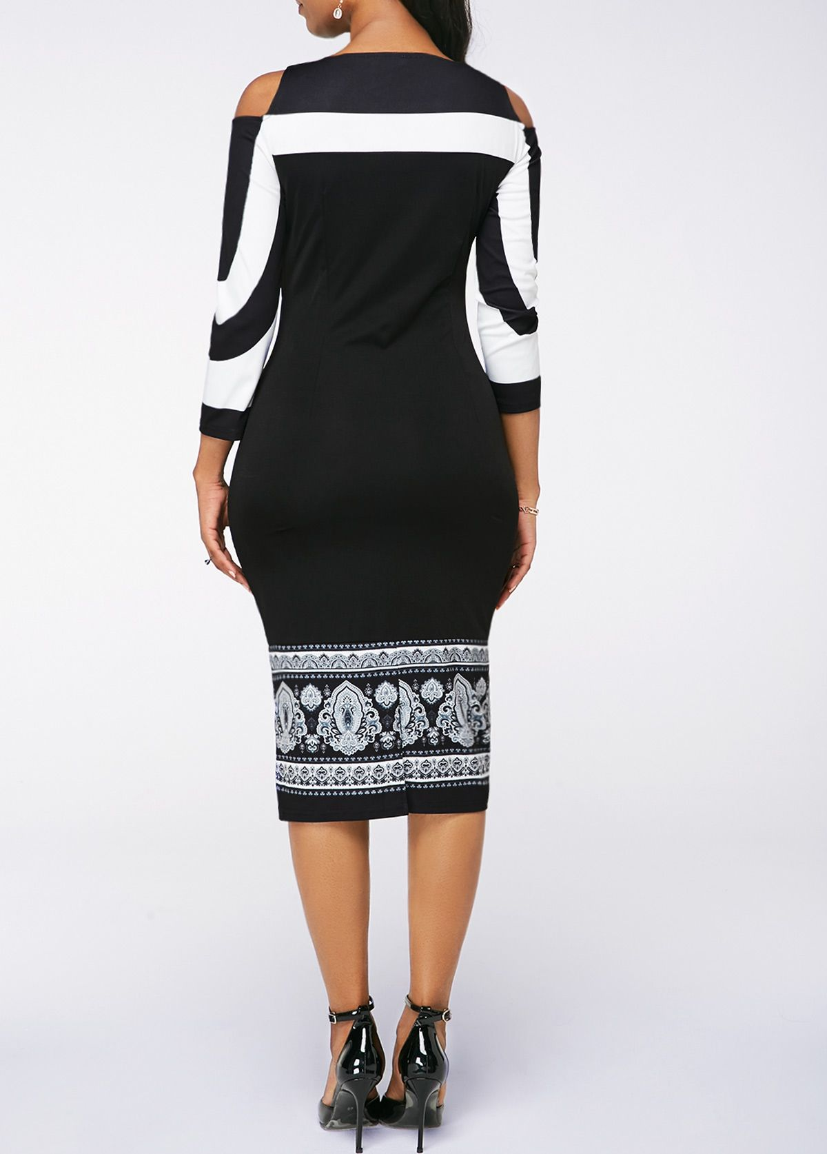 Black cold shoulder sheath midi dress in womenus fashion