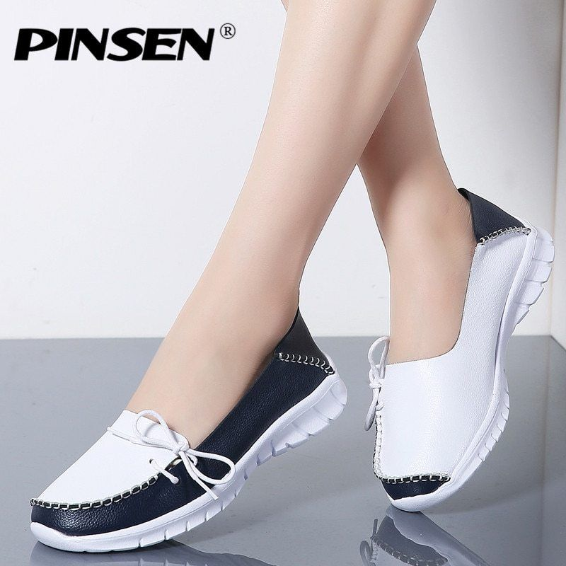 d926e6b9503a Pinsen 2019 Autumn High Quality Women Shoes Genuine Leather Slip On Flats Shoes  Woman Handmade Loafers