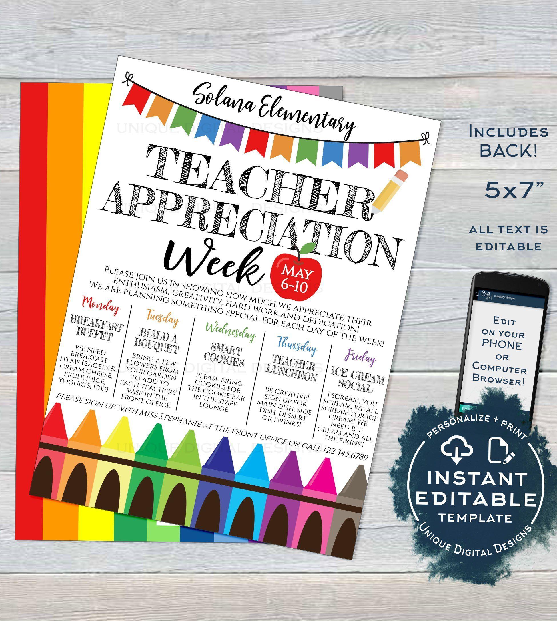 Teacher Appreciation Week Invitation Editable School Staff Appreciation Week Schedule Staff Appreciation Week Teacher Appreciation Week Teacher Appreciation Week Schedule