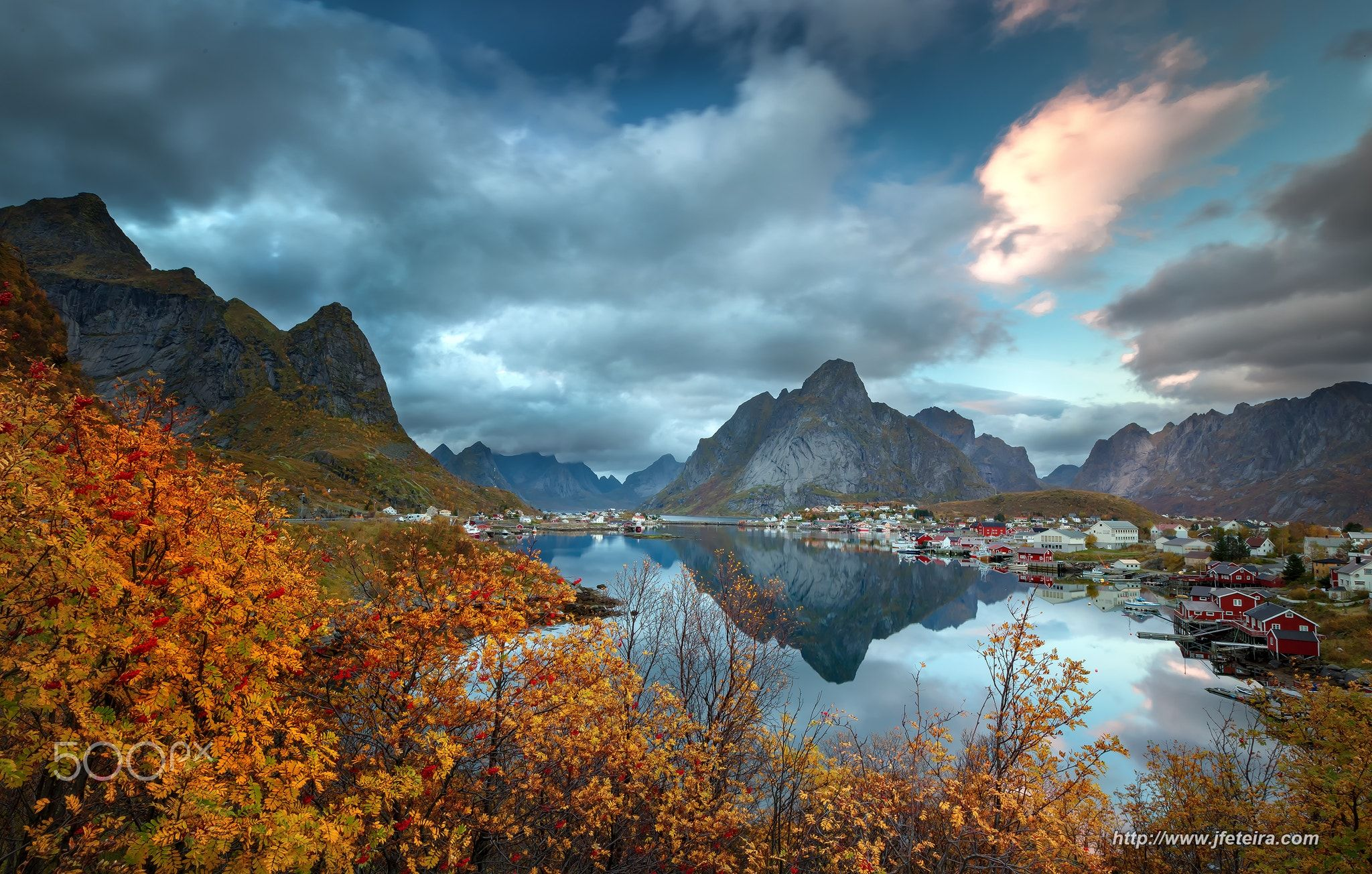 Golden Reine - This is my first photo I publish the my trip to Norway. my intention was of capturing maximum colors of fall, but when I arrived to Reine all expectations I had imagined were too small for the scenario I found.  More photos in http://www.jfeteira.com