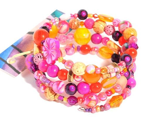 Tropical ...  Beaded Bracelet wire wrap by artistvisions on Etsy, $29.33
