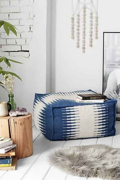 Wool Cube Pouf - Urban Outfitters Structured ottoman in patterned