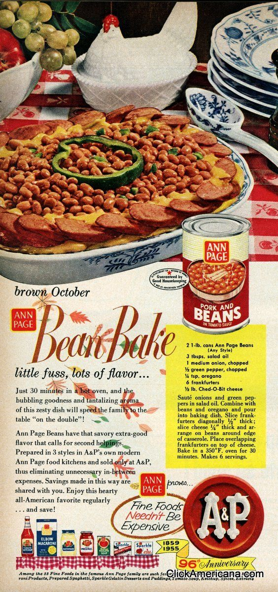 Ann Page Zesty Baked Beans Amp Barbecue Beans Recipes 1955 Vintage Recipes Retro Recipes