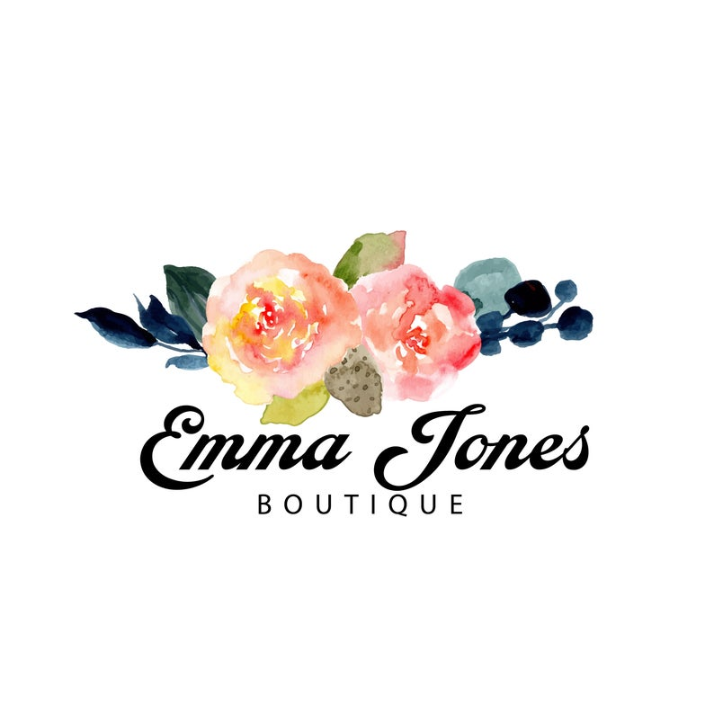 Floral Bouquet Logo Boutique Logo Etsy Shop Store Icon Botanical Logo Watercolor Branch Logo Nature Logo