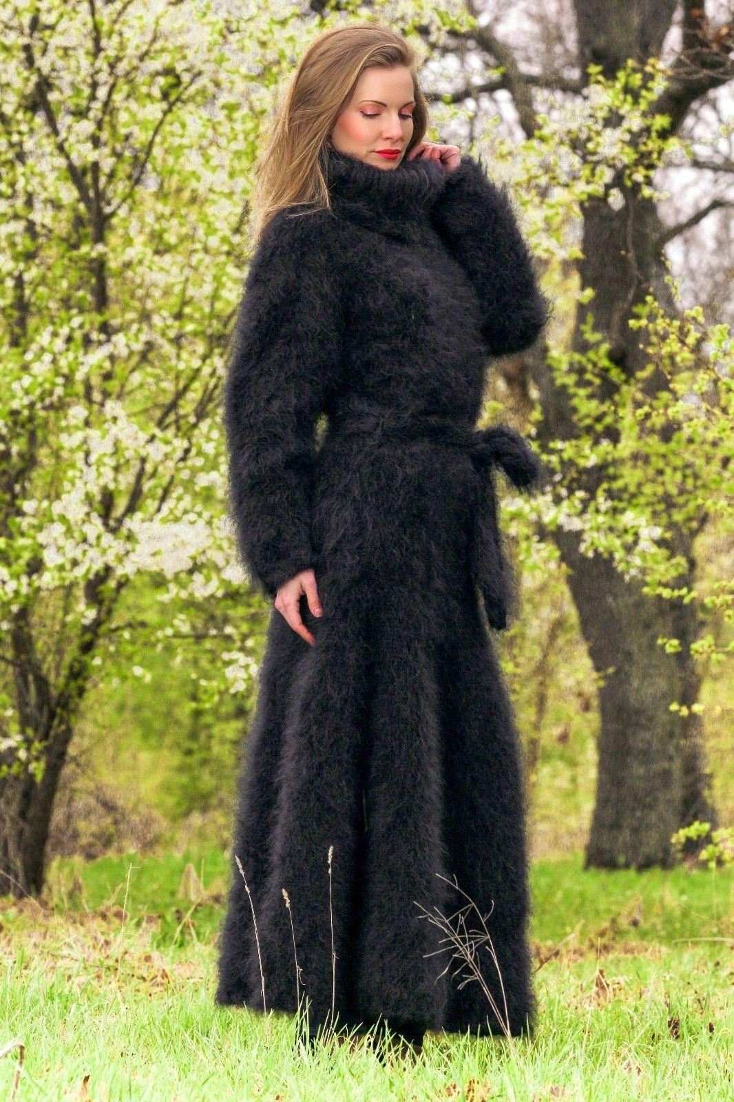 Black hand knitted mohair sweater dress supertanya fuzzy long