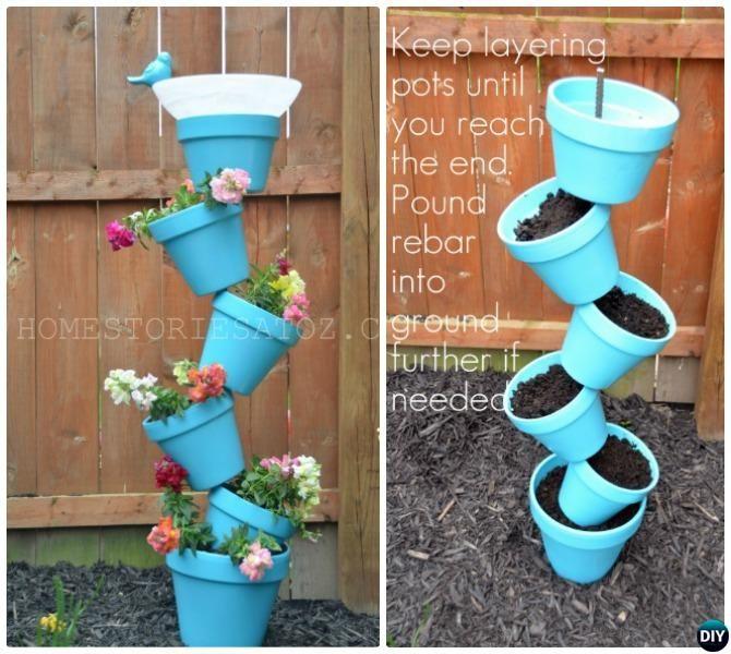 Diy Flower Gardening Ideas And Planter Projects: DIY Flower Clay Pot Tower Projects For Garden