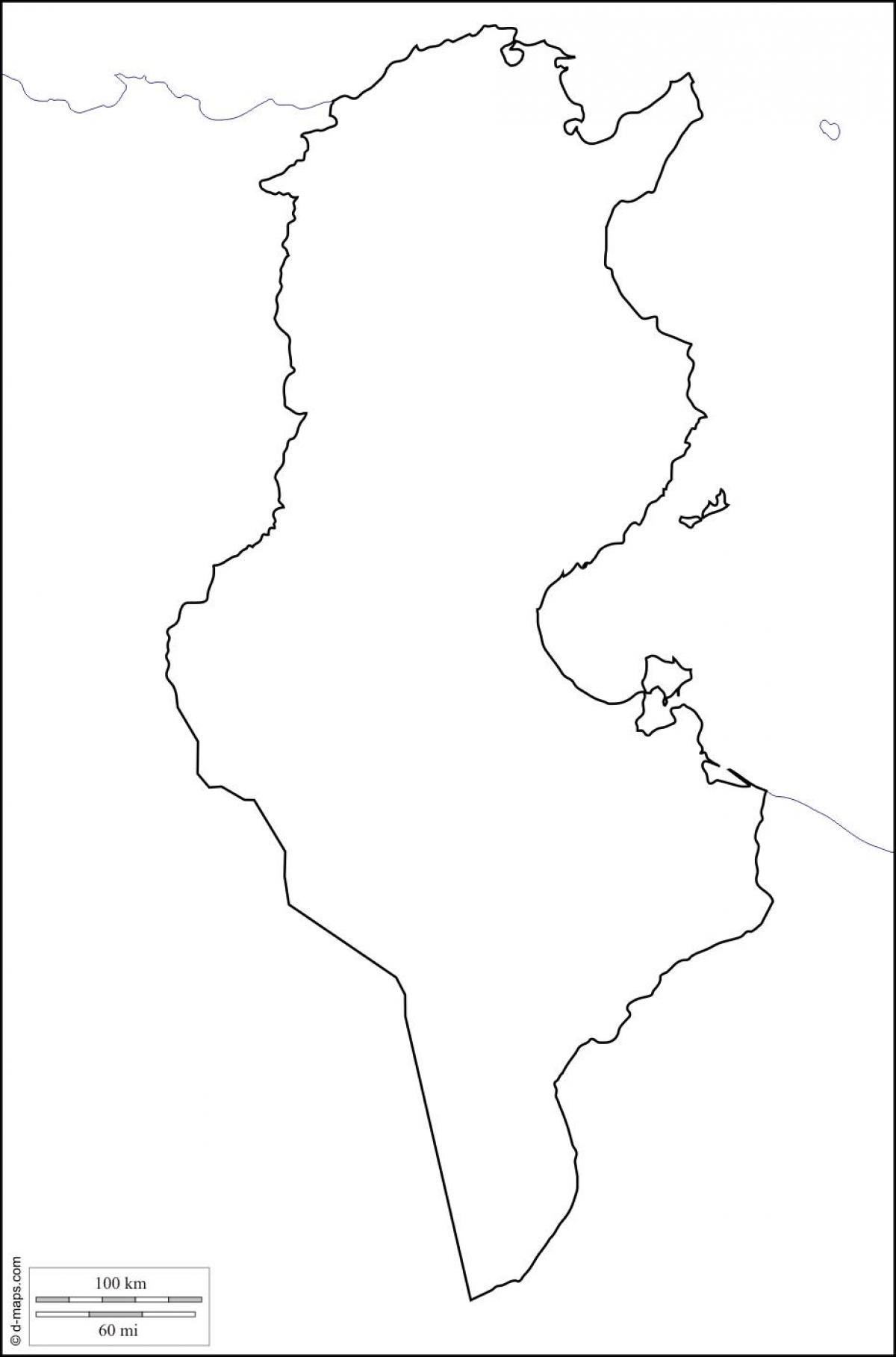Tunisie Vide La Carte Carte De La Tunisie Vide Afrique Du
