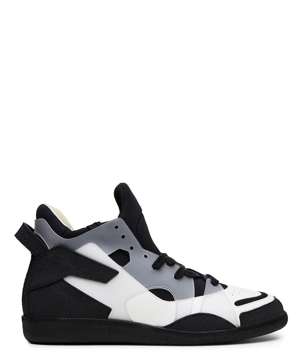 Maison Margiela Black and White Leather and Neoprene High Top Sneaker-SS15MARGP9 - Sneakerboy