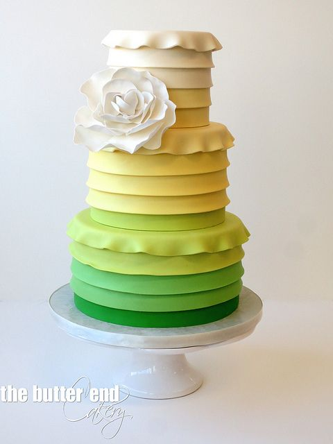 Yellow and Green Ombre Baby Shower Cake by The Butter End Cakery, Santa Monica, CA
