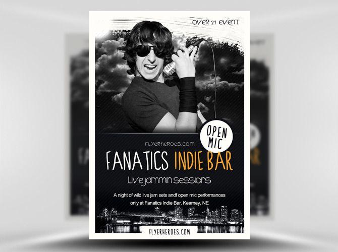 Fanatics Free Indie Bar Flyer Template https\/\/noobworx\/store - black flyer template