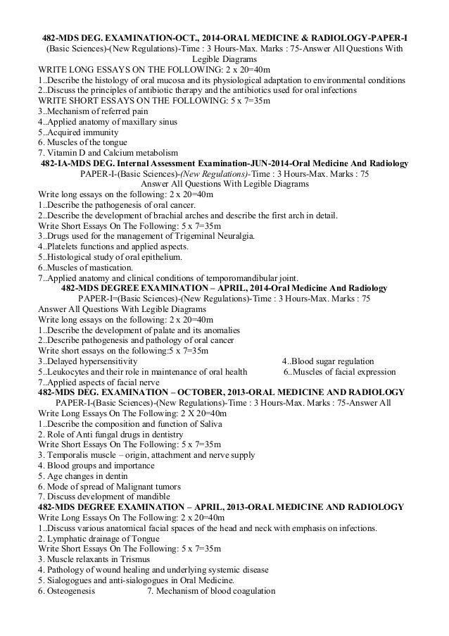 482-MDS DEG EXAMINATION-OCT, 2014-ORAL MEDICINE  RADIOLOGY-PAPER