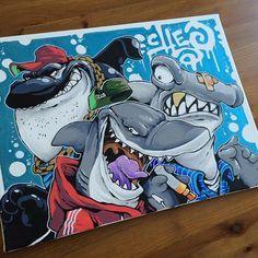 Today's effort... #cheo #canvas #hammerhead #shark #orca #posca #zig