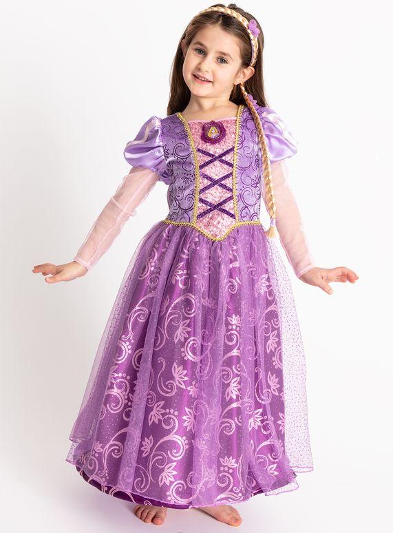 Rapunzel Tangled Kid Girl Fancy Dress Up Princess Costume Short Sleeve Outfit UK