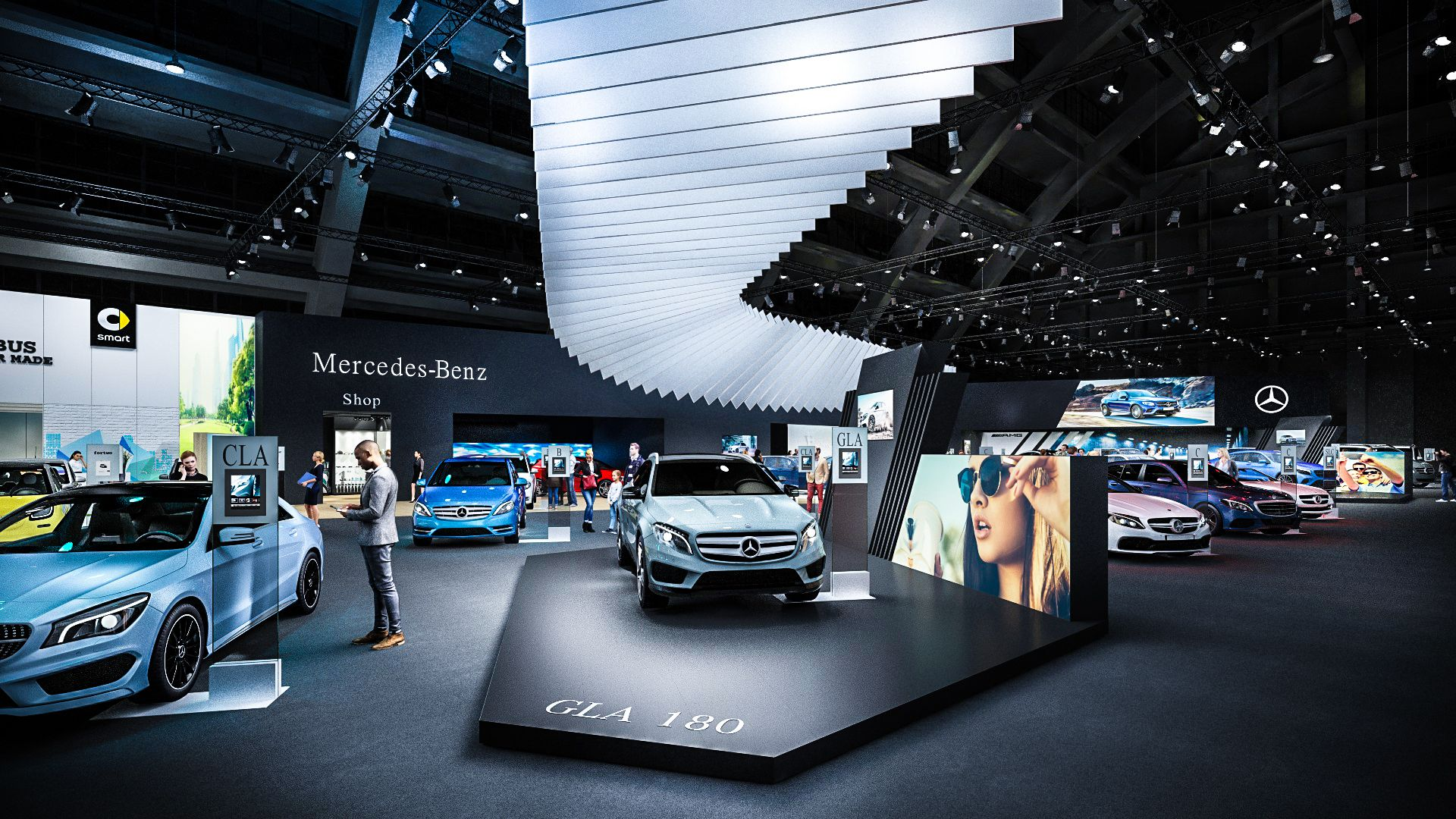 Exhibition Stand Visualization For MercedesBenz Car Show Brussels - Car exhibition