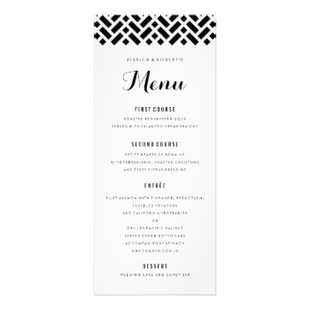 Superb Fully Editable Black And White Formal Dinner Menu With Woven Geometric  Pattern. Can Also Be Pertaining To Formal Dinner Menu Template