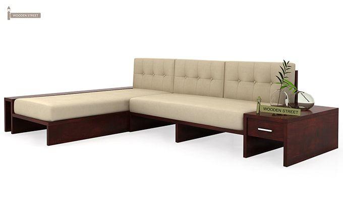 Cortez L Shaped Wooden Sofa Mahogany Finish Buy Online An Amazing Cortez L Shaped Wooden Sofa At Great Discount Pr Wooden Sofa How To Make Corner Sofa Sofa
