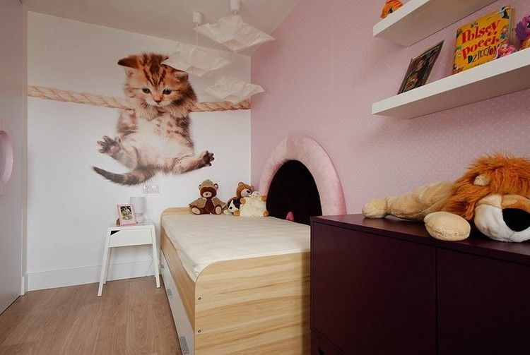 fototapete baby katze und rosa tapete im mädchenzimmer ... - Fototapete Im Kinderzimmer Wandgestaltung Ideen