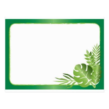#template - #Green tropical leaves blank template postcard