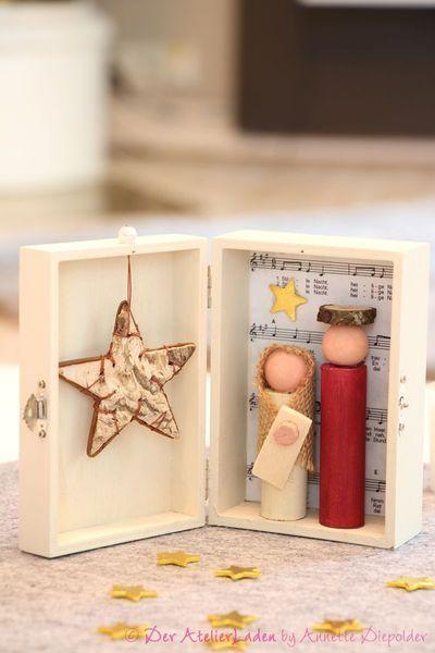 Weihnachts-Krippe in der Holz-Box von Der AtelierLaden by Annette Diepolder auf #holzideenweihnachten