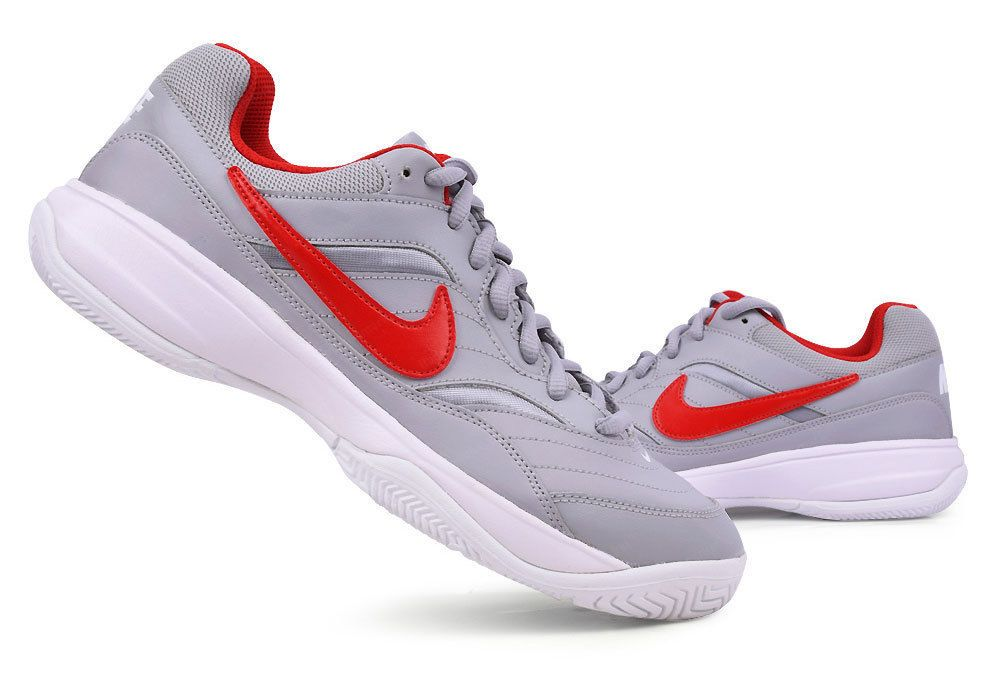 outlet store c0620 31774 Nike Mens Court Lite Tennis Shoes Sports Racket Swoosh Gray Red 845021-016  NWT Nike
