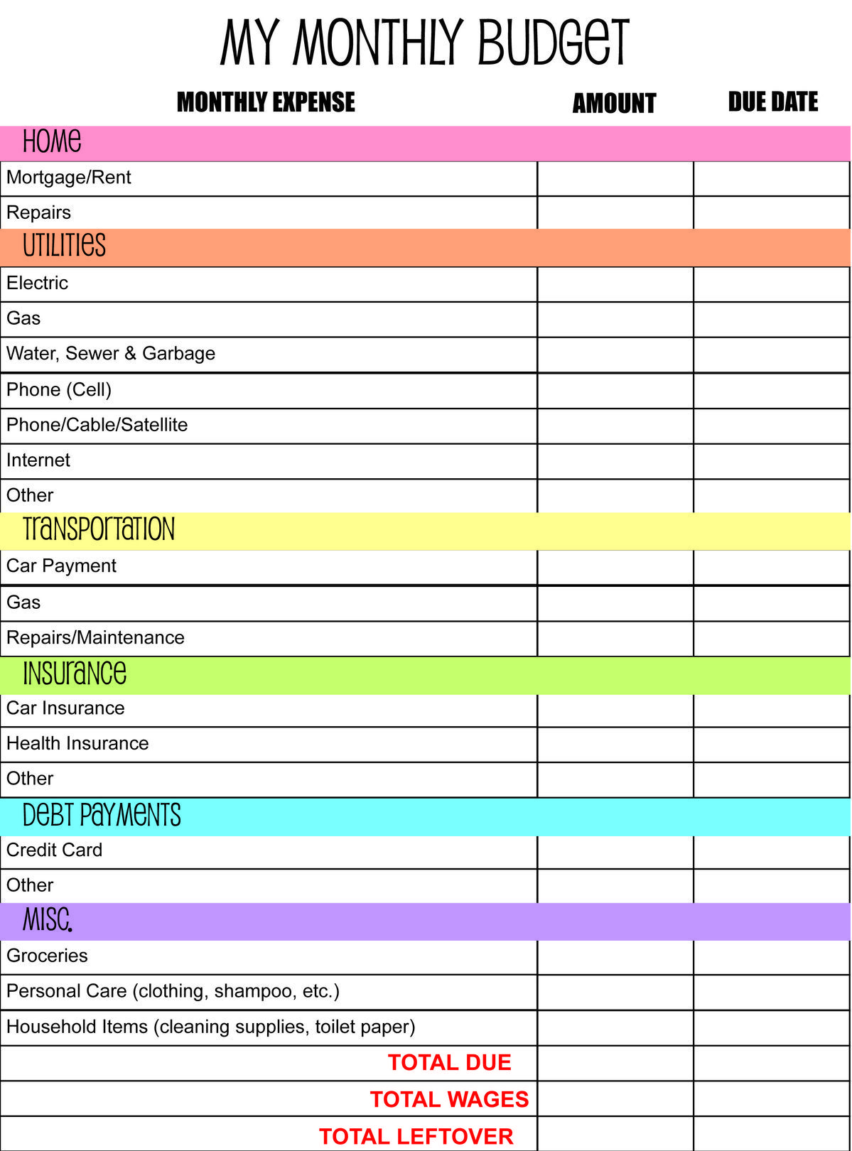Simple Monthly Budget Template Printable Digital With Images