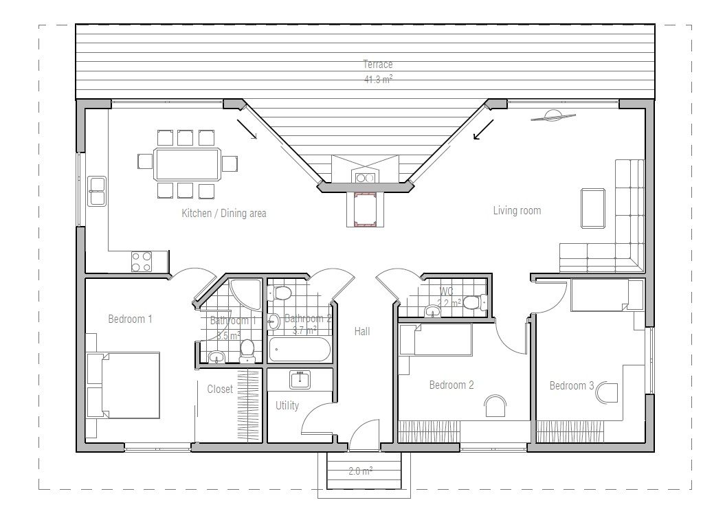 Very Popular Small House Plan. Good Choice For Vacation Home. Modern Style Small  Home Plan.