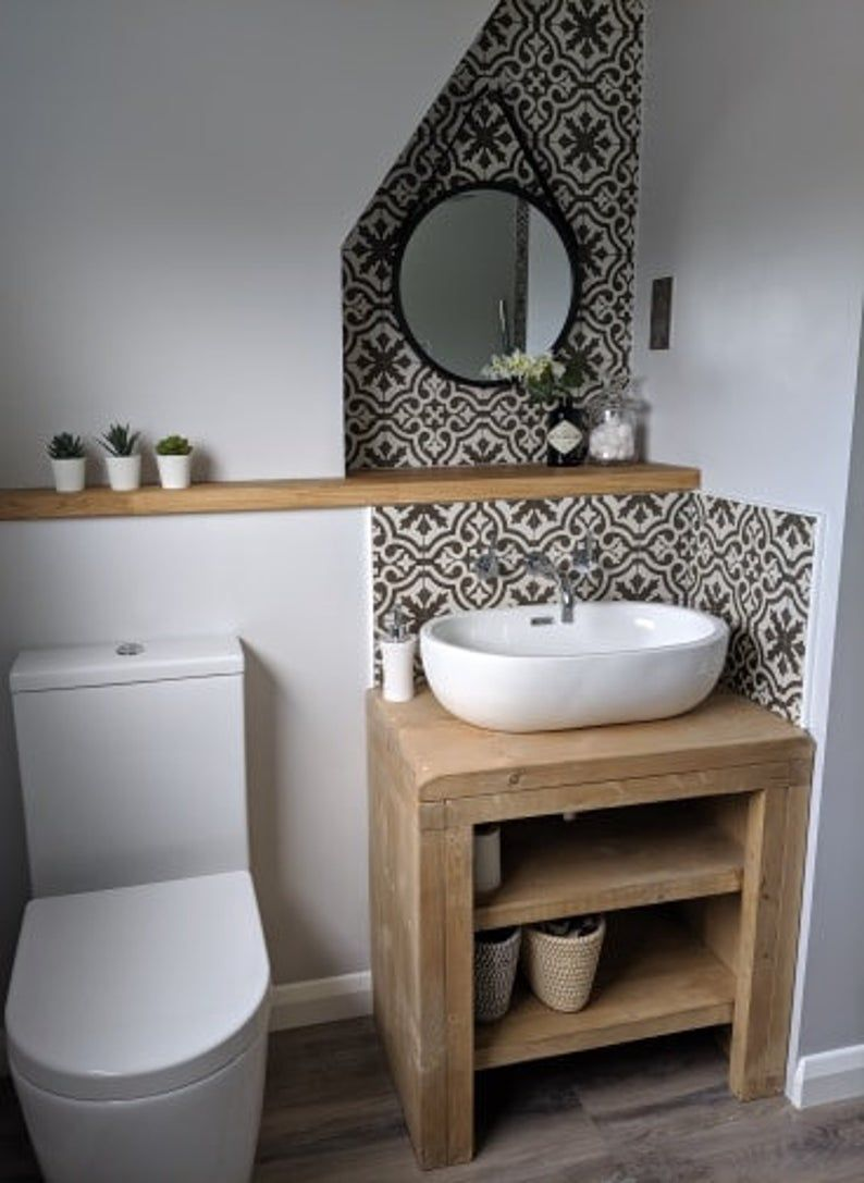 Photo of The Mossy Pine wash stand sink unit Hand crafted rustic bathroom vanity unit Wooden vanities wash basin desk