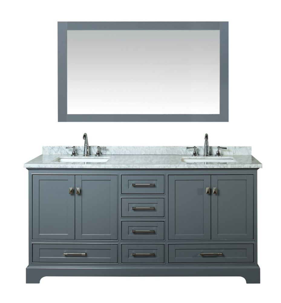 Newport Grey 72 Inch Double Sink Bathroom Vanity With Mirror Products