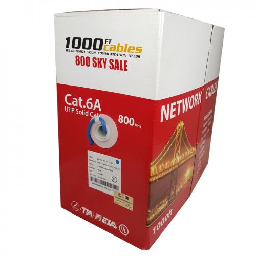 Cat6A Plenum 1000FT CMP Bulk Cable Solid Copper UL Blue