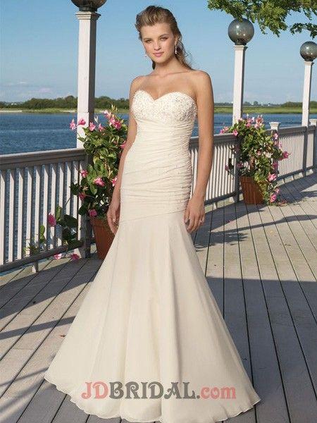 Adorable Sweetheart Applique Corset Beaded Chiffon Satin Beach Wedding Attire $346.99 Beach Wedding Dresses