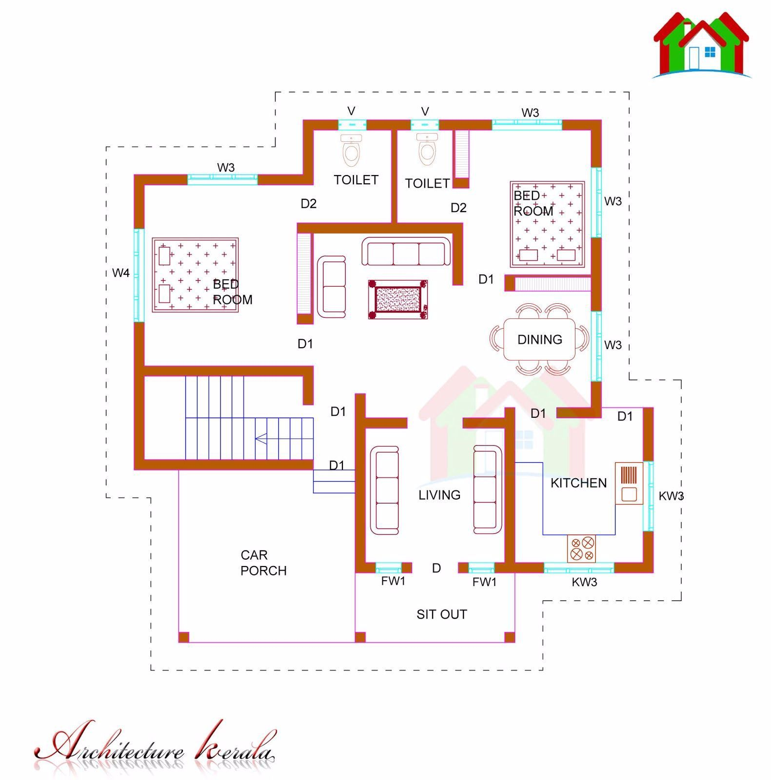 1100 Square Feet House Plan Two Bed Room House Plan Single