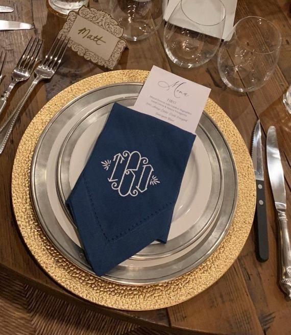 Lilian Monogrammed Embroidered Cloth Dinner Napkins, 3 letter monogram monogrammed cloth napkins, we #clothnapkins