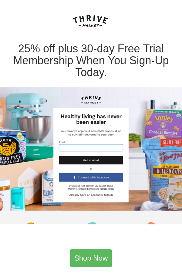 25 Off Plus 30 Day Free Trial Membership When You Sign Up Today Thrive Market Thrive Grocery Online