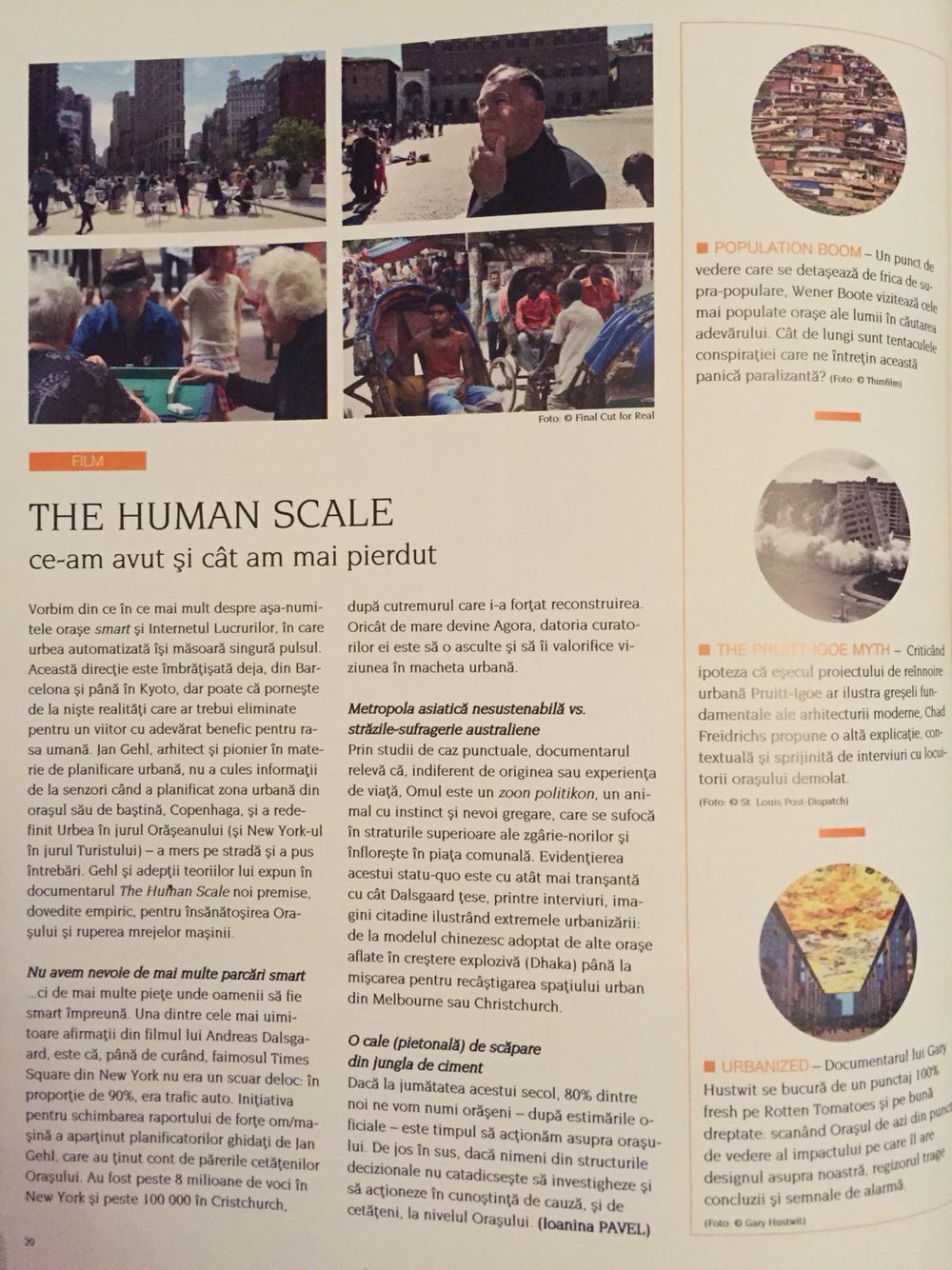 The Human Scale by Jan Gehl in Igloo, May issue (Ro) #film
