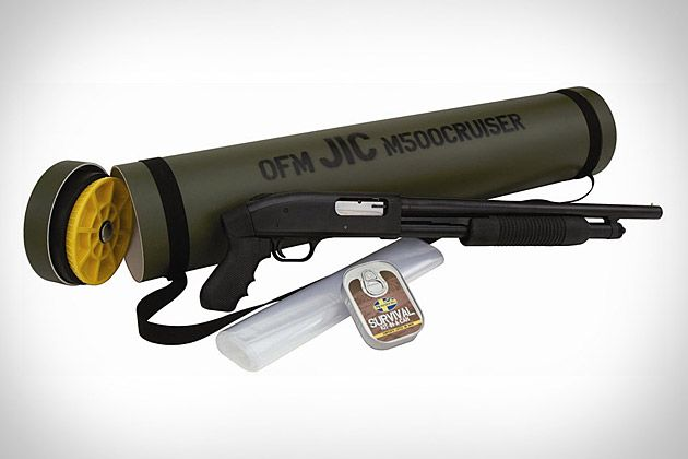 """$360 Mossberg Just-In-Case Kit. This all-in-one survival pack includes a 12 gauge Mossberg 500 Pump-Action shotgun inside a re-sealable clear bag, inside a waterproof synthetic carrying tube which also holds gear like a """"Survival Kit in a Can"""" and a multi-tool and serrated knife combo pack."""
