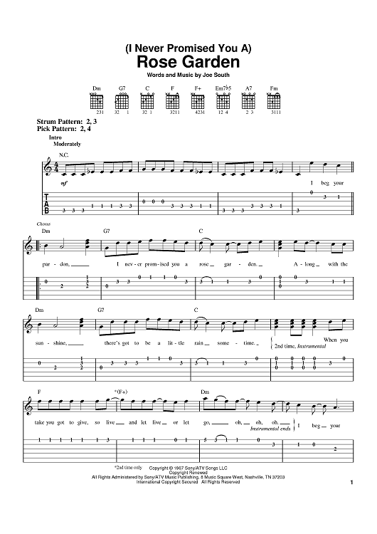 Rose Garden Sheet Music Preview Page 1