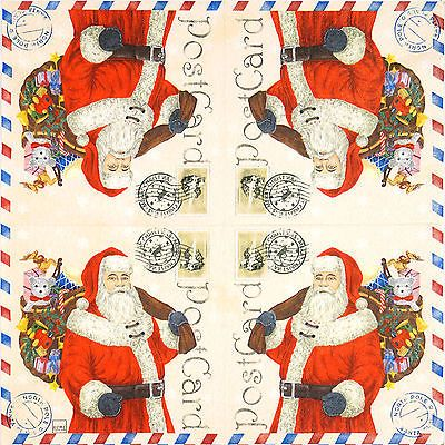 4x Single Table Party Paper Napkins for Decoupage Decopatch Craft Santa Postcard