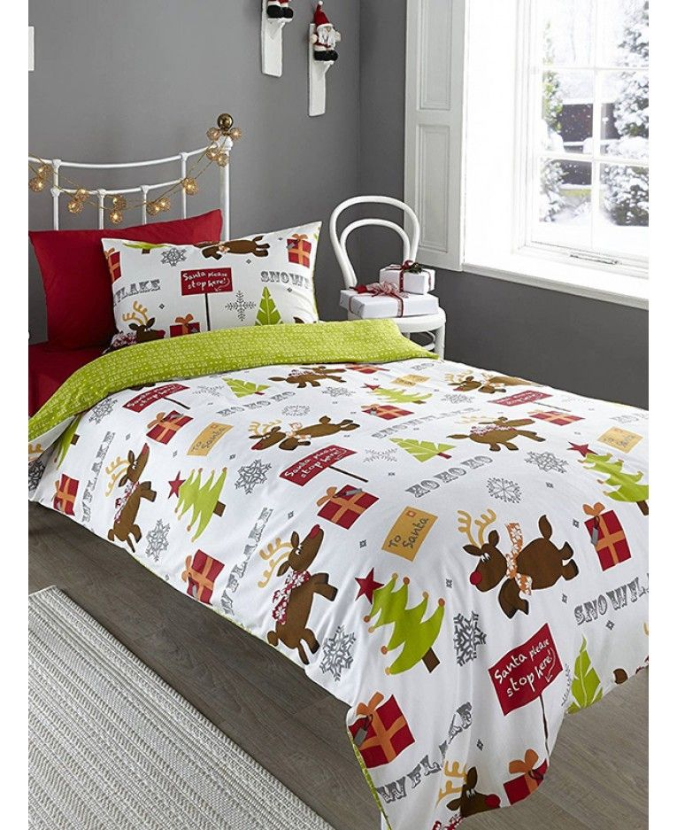 Reindeer Road Brushed Cotton Christmas Single Duvet Cover Set Red