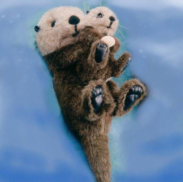"Otter Mom & Baby 14"""