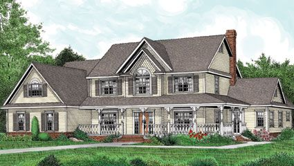 This spacious five bedroom farmhouse style home, with beautifully styled windows welcomes you with its large front wrap around covered porch.   Beyond the spacious foyer entry is the large great room with fireplace, built -in media center and access to the rear porch.  Farmhouse Home Plan # 421006.