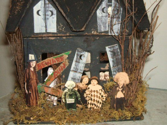 Mixed Media Haunted House Halloween Decoration 3 Haunted houses - where can i buy cheap halloween decorations