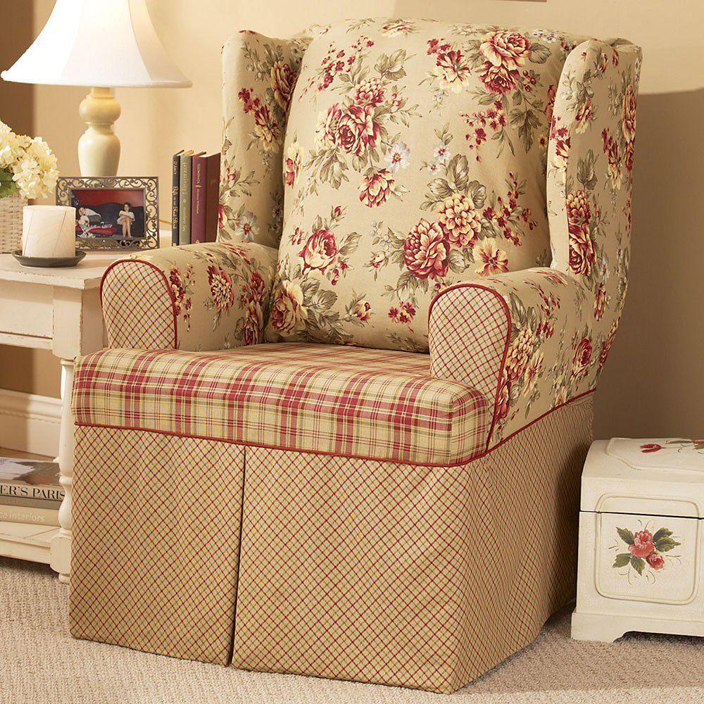 Sure Fit Lexington Floral TCushion Wing Chair Slipcover